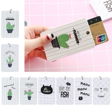 THINKTHENDO Chic Women Men Bus ID Card Holder Card Case Badge Key Ring Keychain Stylish Gift Acrylic+stainless steel Casual Bags(China)