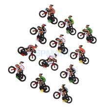 12 Pieces Miniature Rider Cyclist Model Collectables Toys 1/87 HO DIY Train Model Sand Table Diorama Landscape Layout Accessory