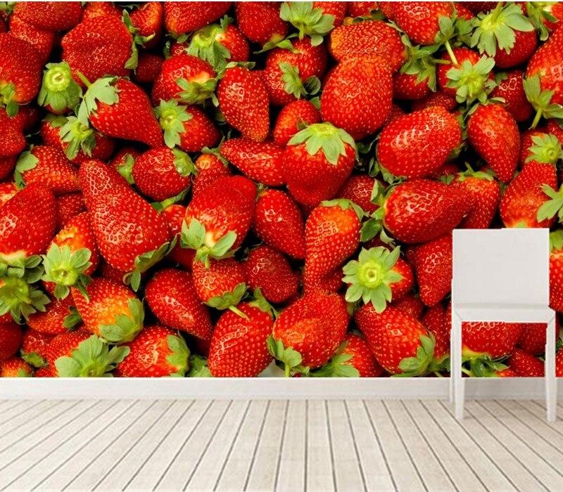 Custom 3D murals, Fruit Berry Strawberry Closeup Food wallpapers ,restaurant  Kitchen living room tv wall de parede Papel<br>