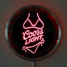 rs-a0119 Coors Light Bikini LED Neon Round Signs 25cm/ 10 Inch - Bar Sign with RGB Multi-Color Remote Wireless Control(China)