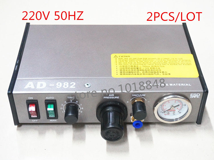 220V AD-982 Semi-Auto Glue Dispenser PCB Solder Paste Liquid Controller Dropper Fluid dispenser 2pcs/Lot<br>