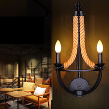 Retro Novelty Wall Lamps Painted Iron + Hand Knitted Hemp Rope Vintage E14 Wall Light Sconce Best for Coffee Bar Shop Decoration