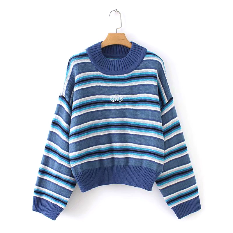 Winter Spring Women Harajuku Sweater Blue & White Striped Jumper Embroidered Cropped Knit Oversized Sweater Pullovers
