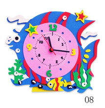 2017 Hotsale animal fish sticker home decor electronic diy wall clocks watch living room children love bedroom decoration - more