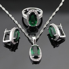 Synthetic Green Created Emerald White CZ Silver Color Women Jewelry Sets Hoop Earrings/Pendant/Necklace/Rings Free Gift Box