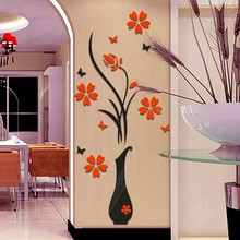 Wall Sticker DIY Arcylic 3D Art Vase Tree Wall Decals Wallpaper Flowers Home Decor Stickers for TV Background Room Entrance-way