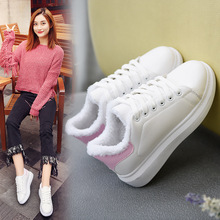 2017 new Winter new women small white running shoes female warm plus cotton shoes increased student sport shoes zapatos mujer(China)