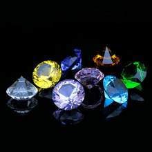 1pc 20mm Colorful Crystal Glass Diamond Paperweight Feng Shui Quartz Stone Crafts For Home Wedding Decor Ornament Gifts Souvenir(China)