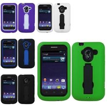 Black/White/Purple Silicone Hybrid Hard Stand Case Cover For ZTE Avid 4G N9120