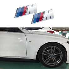 2 psc Car Sport M Logo Fender Side Grill Badge Emblem ABS Stickers For  M3 M5 E46 E36 E39 E30 E60 E90 F30 F10 E53 X3 X5 X6