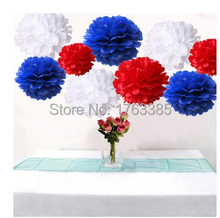 18PCS Mixed Royal Blue Red White Party Tissue Pom Poms Wedding Flowers Birthday July 4th Holiday Paper Hanging Decoration f