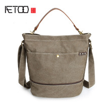 AETOO Men's Shoulder Handbag casual personality vertical section square youth slanting canvas bag(China)