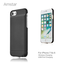 Amstar Qi Wireless Charger Receiver Case Cover Qi Receiver Wireless Charging Transmitter Case for iphone 7 6s 6 Charger Case