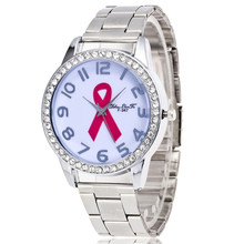 zhoulianfa HIV/AIDS ribbon Women Watches Full Steel Band Crystal Ladies Casual Dress Watch Personal Gift Watches 1PC