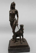 "wholesale factory 10""Western Pure Bronze Marble muse belle on wolf Art Dog sculpture Statue"