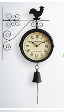 Double wall clock, fashionable sitting room wall clock, tuba, wrought iron wall clock