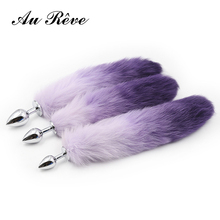 Buy One Purple Faux Fur Fox Tail Butt Plug Metal Anal Plug Adult Sex Toys Anal Tail Toys Sex Products Woman Men Couple AuReve