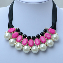 Anniyo Pink collar necklaces for women fashion trendy jewelry with simulated-pearl and blck rope