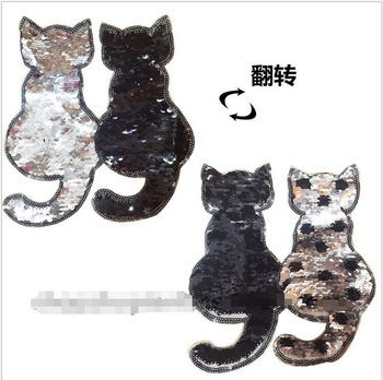 2017 NEW cat Reversible Change color Sequins Sew On Patches for clothes DIY Patch Applique Bag Clothing Coat Sweater Crafts