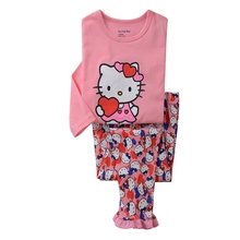 2016 toddler girl hello kitty clothing set 100% cotton kids tracksuit children long sleeve pyjamas kids vetement fille