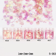 1Box 10ml Nail Glitter Powder Sheets Tips Pink Red 1mm&2mm&3mm Mixed Nail Powder Nail Decoration 5 Colors