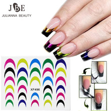 10Pcs Decals French Nail Stickers Manicure Tips Guide Nails Decoration Form Finger Guides DIY Smile Line Stencil Metallic Color