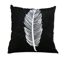 RUBIHOME Soft Embroidery Nordic Style Feather Bird Design Decorative Cushion Covers Pillow Cover Sofa Home Decor(China)