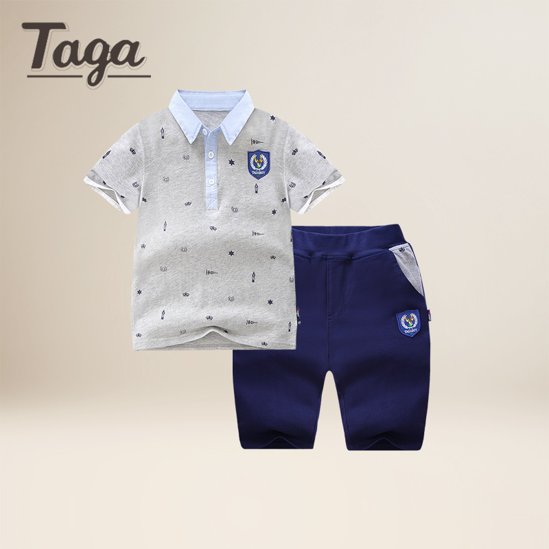 TAGA 2017 High Quality Boys kids Clothing Set Cartoon Short Sleeve T-Shirts tops+ Pants Set Baby Children Clothing Sports Suits<br>