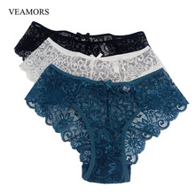 VEAMORS Women's Sexy Full Lace Panties ,3PCS 5 Colors Fashion High Quality Transparent Floral Bow Soft Briefs Sexy Lingerie S-XL(China)