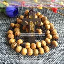 10pcs/pack wholesale cheap olive/pine wooden beads religious rosary, catholic rosary necklace with wooden cross(China)
