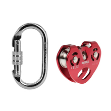 Outdoor Rock Climbing Zip Line Wire Cable Trolley Pulley + Carabiner for Safety Buckle Camping Mountaineering Rappelling Access