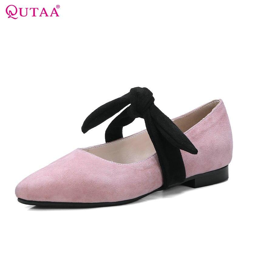 QUTAA 2018 Women Pumps Sheepskin + Flock Fashion Square Low Heel Pointed Toe Butterfly-knot Sweet Style Women Pumps Szie 34-43<br>