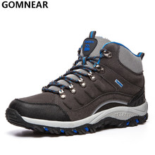 GOMNEAR Men's Hiking Shoes Outdoor Trekking Hunting Moutain Hiking Antiskid Athletic Boots Man Winter Sport Shoes For Climbing