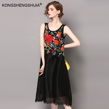 Vintage Loose Style Floral Embroidery Silk Linen Women Dresses 2017 New White Black Summer Sleeveless belt Lace long dress