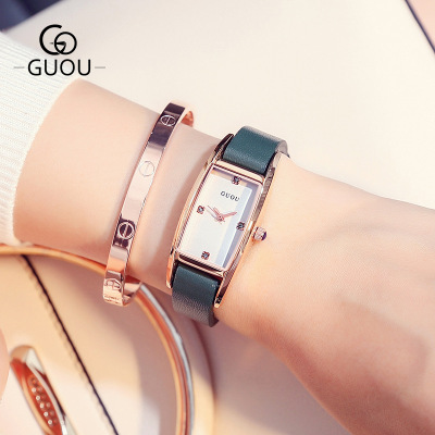 GUOU Famous Brand Elegant Watch Women Fashion style Square dial Quartz Watches Ladies Rhinestone Leather Wristwatch Relogio 2017<br>