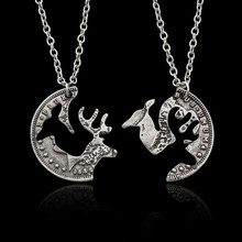 Vintage Couple Necklace Set Alloy Chain 2 Parts Elk Camel Animal Pair Personalized Funny Gift For Lovers Best Friends Jewelry(China)