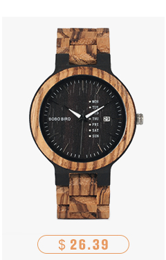 CnwinTech Bamboo Wood Watches Men Casual Clock - BOBO BIRD 14