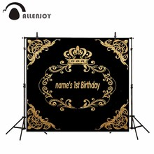 Allenjoy photography background Black Birthday Theme Golden Crown patterns backdrop photo background studio camera fotografica
