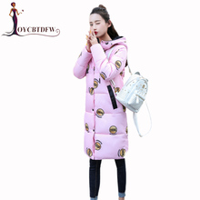 Best choice 2017 Winter New women cotton coat mid-long section Slim simple Fashion Hooded jacket warm comfortable coat DD129(China)