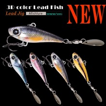 Lead Fish with Spoon Sequines 18g 50mm Jigging Fish With Treble Hook  3D Print Laser Metal Jigging Spoon Jig Fishing Lure