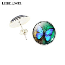 LIEBE ENGEL Vintage Statement Stud Earrings Glass Cabochon Butterfly Earrings Silver Color Jewelry Pendientes For Women