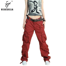 2018 New Arrival 5colors Cargo Pants Women's Overall Hip Hop Loose Jeans Baggy Pants For Women(China)
