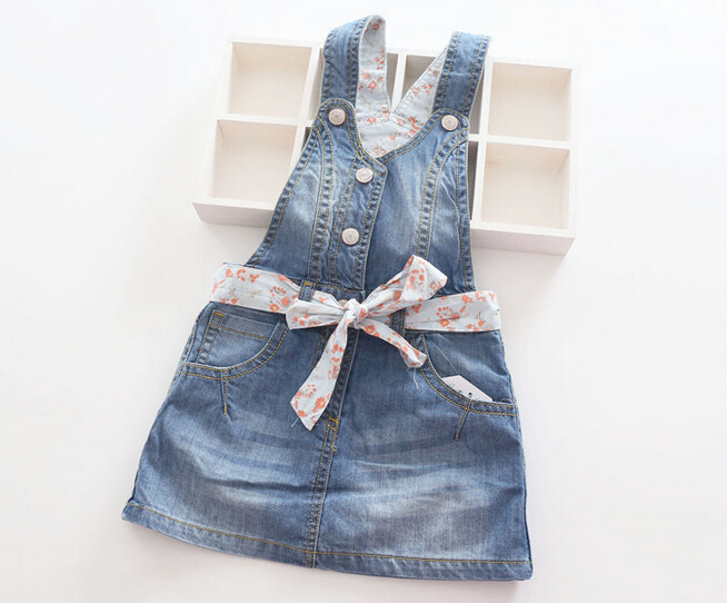 New Arrival Baby Girls All-match  Denim Sundresses Girls Suspender Dress Kids  Floral-belt  Denim Sundress Free Shipping<br><br>Aliexpress