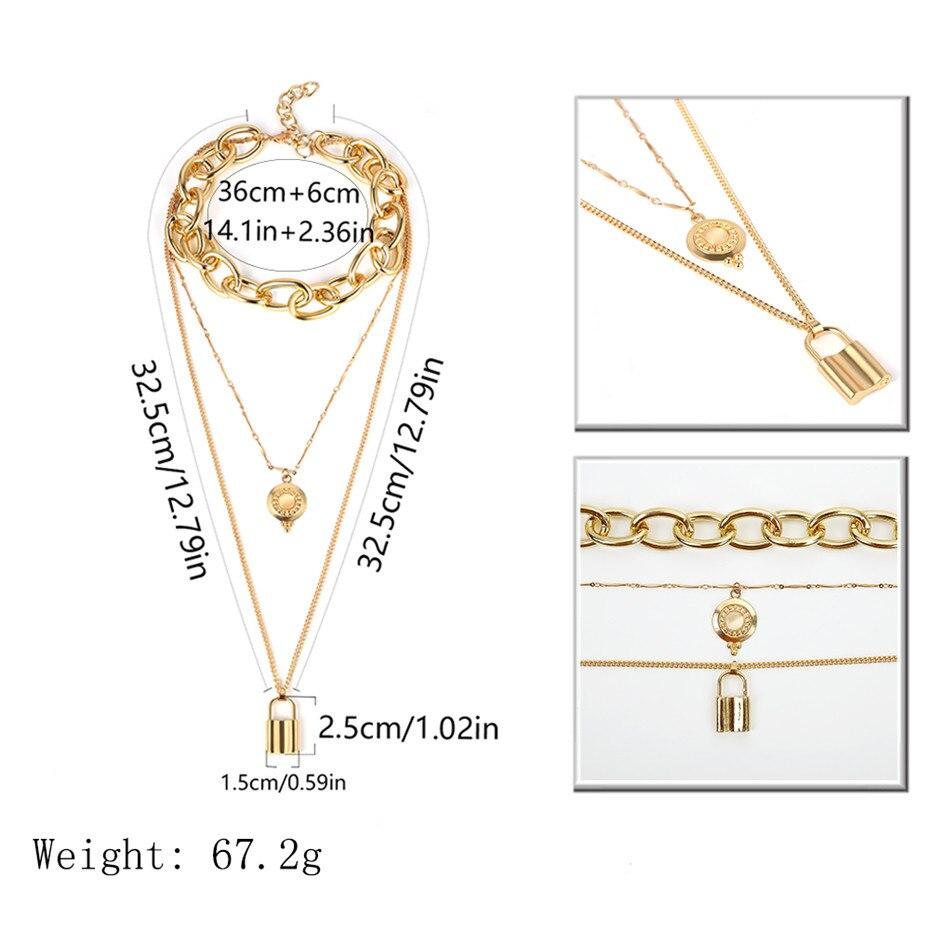 IngeSight-Z-Vintage-Multi-Layered-Aluminium-Choker-Necklace-Collar-Statement-Alloy-Lock-Pendant-Necklace-for-Women