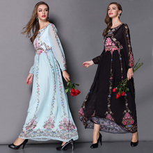 2015 Early Spring New Fashion Street Women's Elegant Long Lantern Sleeve Retro Flowers Printed Light Blue / Black Chiffon Dress