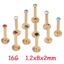 1.2x8x2mm 16G Gold Titanium Anodized Internally Threaded Prong Colorful Gem Labret lip piercing labret ring Tragus Earring