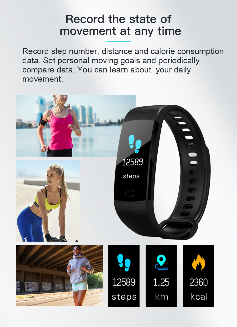 Y5 Smart Band Watch Colorful Display Wristband Activity Fitness Tracker Smart Electronics Heart Rate Bracelet VS Xiaomi Miband 2 -03