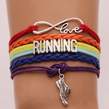 Drop shipping Infinity Love RUNNING sports Bracelet & Bangles Rainbow Color running shoes charm braided Wristband Christmas Gift(China)