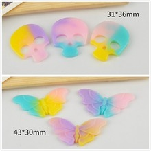 10pcs/lot DIY resin cabochons accessories flat back resin skull butterfly for hair(China)