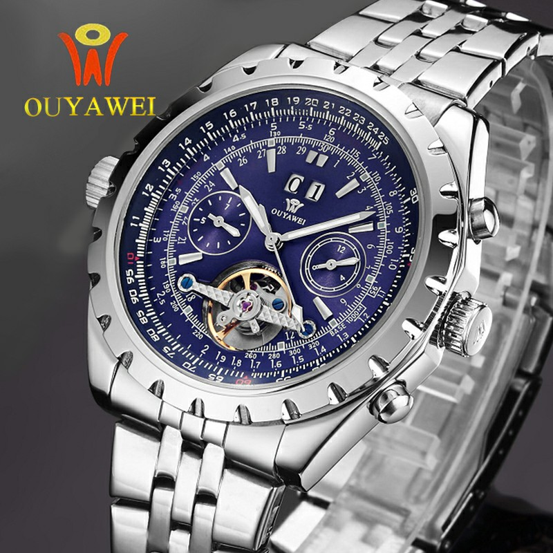 Hot Brand OUYAWEI Mens Luxury Tourbillon Auto Mechanical Wrist Watches Stainless Steel Business Mens Watches Relogio Masculino <br>